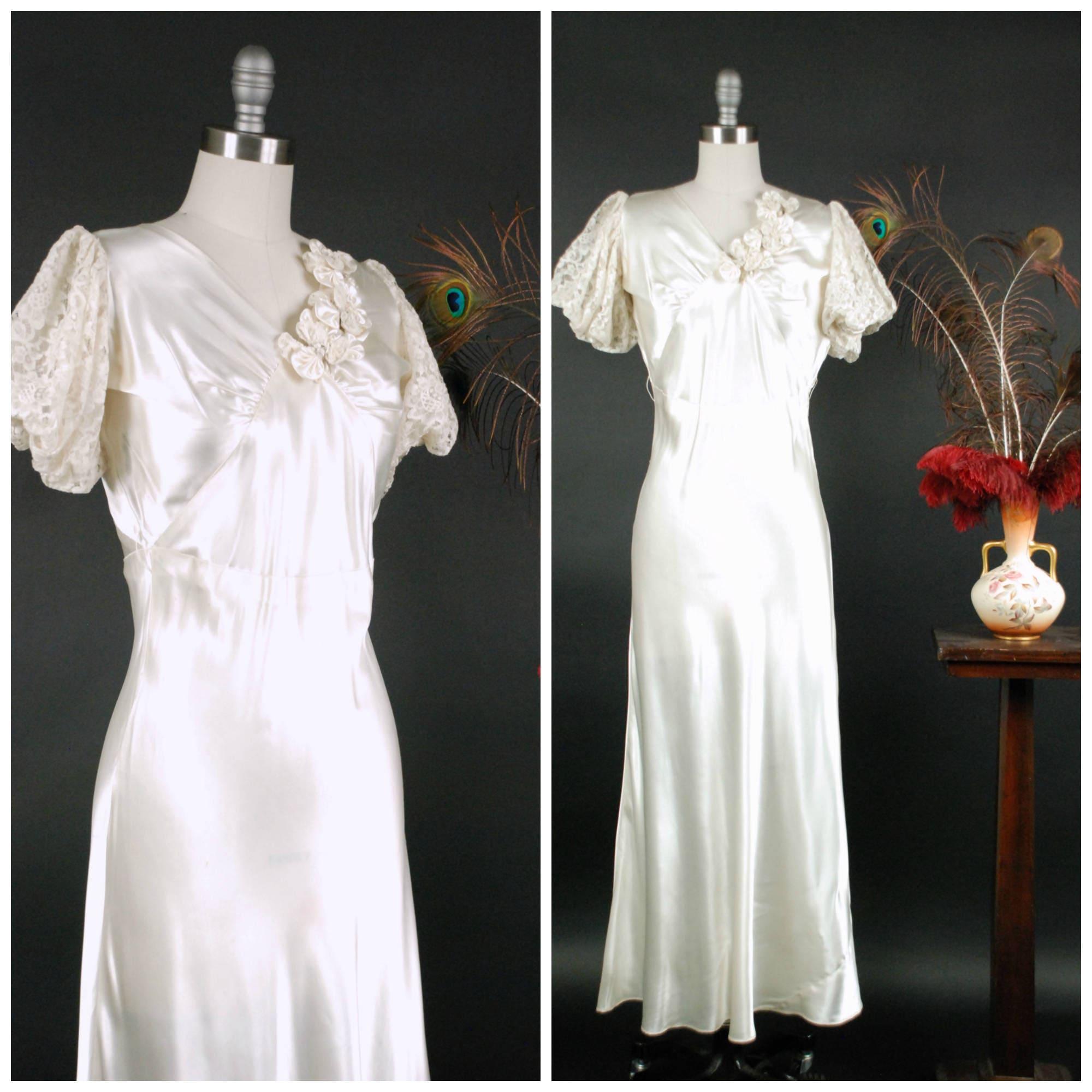 1930s Wedding Dresses: Vintage 1930s Wedding Dress A 1930s Satin Bias Cute Short