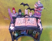Collector Miniature 1:12 Potion TABLE Desk, Flying BATS, BOOKS, Candles, more. Loaded. ooak
