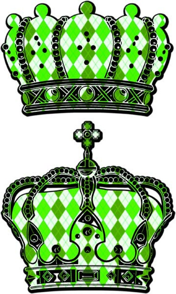 5 colors ornate Harlequin crowns clipart png clip art digital image download printable art graphics green blue red yellow king queen