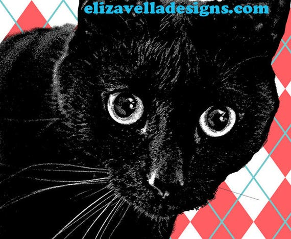 Black Cat  art printable animal graphics red harlequin digital image download pets original artwork animal printables