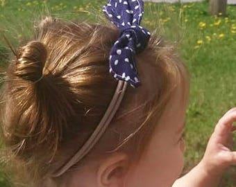 Nylon headband navy blue white dots knot bow, newborn baby toddler child, head scarf hair wrap, cotton handmade, photo prop, shower gift
