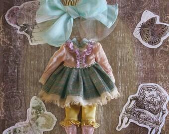 Jiajia Doll limited 3 pieces Birthday Invitation set in green for Blythe momoko azone pullip dorandoran middie blyte