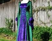 VENTE prêt fait médiéval gothique Woodland fée robe robe de mariée mariage celtique vert & violet velours petit