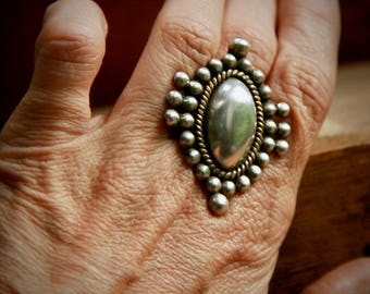 Repurposed Vintage Mexican Sterling Silver Statement Ring - Boho Chic - Rustic - One-of-a-Kind