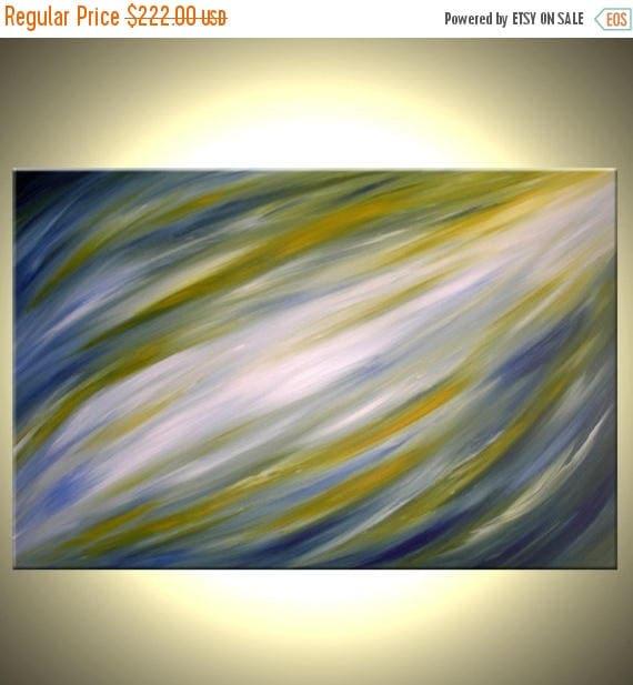Abstract Blue Green Painting, Original Modern Art, Contemporary Fine Art, Acrylic On Canvas By Dan Lafferty - 24 x 36