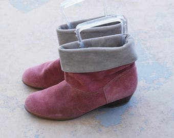 vintage 1980s Ankle Boots - 80s Pink Suede Slouch Boots - Two Tone Pixie Cuff Boots Sz 10 41