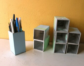 Metal Pencil Holder Artist Gift Upcycled Aluminum Brush Holder Desk Accessory Bathroom Organizer Industrial Home Pastel Blue Office Storage