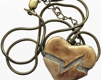 Gold Heart Necklace - Beating Heart - Heartbeat - Mosiac Tile - Clay Ceramic