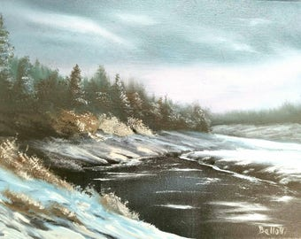 Winter Lake Oil Painting
