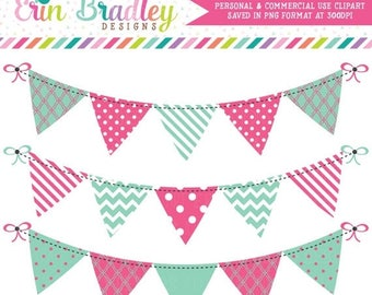 50% OFF SALE Clipart Banners Bunting Graphics Instant Download Clip Art in Pink and Blue Green Personal & Commercial Use