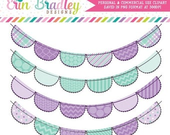 80% OFF SALE Commercial Use Clipart Purple & Aqua Blue Bunting Clip Art Graphics Personal and Commercial Use