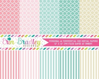 80% OFF SALE Digital Scrapbook Papers Personal and Commercial Use Patterned Papers and Stripes