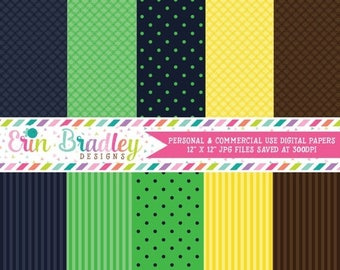80% OFF SALE Nautical Digital Papers Blue Green Yellow Brown Personal & Commerical Use Printable Paper Set - Instant Download