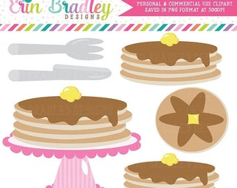 80% OFF SALE Pancake Party Clipart Clip Art Personal & Commercial Use Instant Download