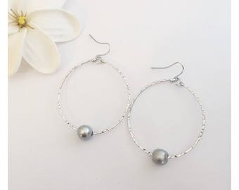 Silver Rhodium Wire Hoop Earrings with Platinum Silver Freshwater Pearl