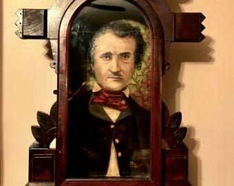 Edgar Allan Poe Oil Painting in an Illuminated Gothic Victorian Shadowbox