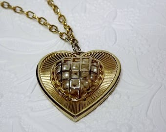 Caged Pearl Necklace, Heart Necklace, Long Statement Necklace, 1950's 1960's Pearl Necklace, Unique Vintage Costume Jewelry