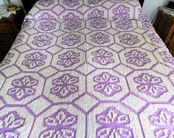 Purple Chenille Bedspread, Cotton Chenille Full Bedspread, Purple Bedspread, Purple Vintage Bedspread
