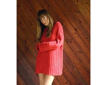 20% off SUMMER SALE. . . Red Oversized Ribbed RALPH Lauren Sweater - Vintage 80s - Xl