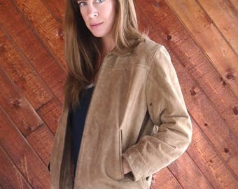 20% off SUMMER SALE. . . Brown Suede WILSONS Leather Zip Up Bomber Jacket - Vintage 90s - Small S