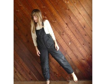 20% off SUMMER SALE. . . Black Nylon Snow Suit Overalls - Vintage 90s - XS/S Petite