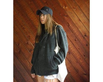 20% off SUMMER SALE. . . Grey Leather Patched Sweater Coat Jacket - Vintage 80s - M