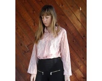 20% off SUMMER SALE. . . 70s Pink Geo Printed Secretary Blouse - Vintage - S/M