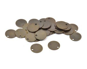 Dark Tiny Round, 25 Antique Brass Tags, Connector Rings  (10mm) Pen 71   K006