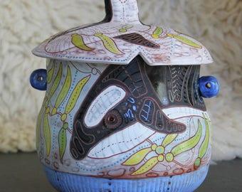 Orca whale Ceramic Jar, cookie jar, treat jar, handbuilt pottery