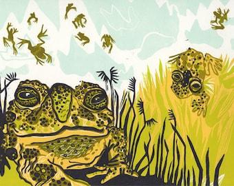 Wyoming Toad Woodcut, block print, endangered species