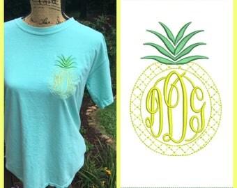 Pineapple Monogrammed Tshirt.  Southern Girl Pineapple shirt.  Monogrammed SHORT sleeve Comfort Color shirt. CC1717