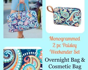 Monogrammed Emerson Paisley Duffel and Cosmetic Bag.  2 piece weekender set.  Great gift idea. Ladies monogrammed overnight bag.