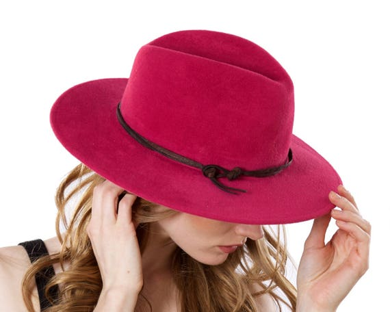 Fuchsia Pink Hat For Women Women's Fedora Hat Wide Brimmed Felt Fedora Hat Western Style Hat Fedora Felt Hat Leather Dress Hat Formal Hat
