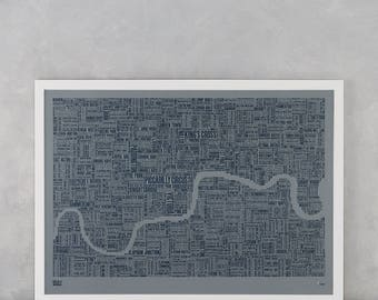 Limited Edition: London Type Map, London Type Map, London Word Map, London Artwork, London Wall Art, London Wall Poster, London Font Map