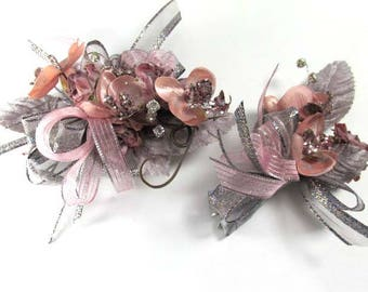 Plum Gray and Blush Mauve Sparkly Silver Rhinestone Bracelet Corsage and Boutonierre Prom or Homecoming Set