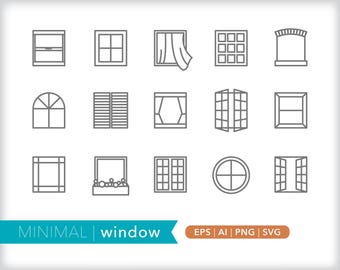 Minimal window line icons | EPS AI PNG | Geometric House Clipart Design Elements Digital Download