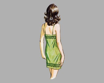 Ladies chemise slip pattern Kwik Sew 211, Size S -  M - L, Bust 34 - 41 1/2 inches Mid Thigh Lace trimmed 1920s bodice Uncut