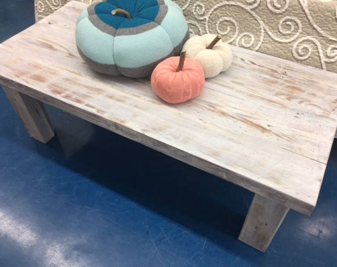 reclaimed wood coffee table whitewashed coastal barn wood handmade Outer Banks furniture Beach House Dreams available for local PICKUP only