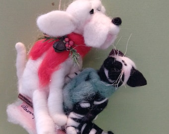 Howling Good Time Felted Wool Ornament - NEW for 2017