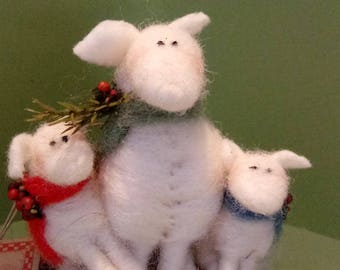 Oh Ewe Kids Felted Wool Ornament - NEW for 2017