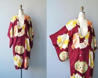 Taiyō michiyuki | vintage 1950s kimono | floral silk 50s kimono jacket