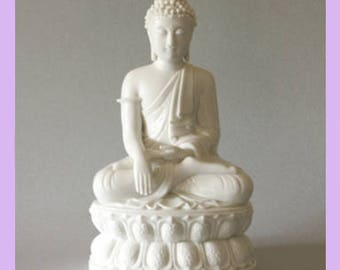 Large Seated Buddha Blanc-de-Chine Porcelain Figurine