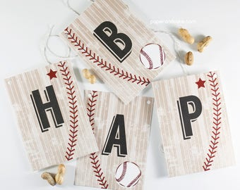 """SHOP THE SHELF Baseball """"Happy Birthday"""" Pennant Banner >> shipped to you 