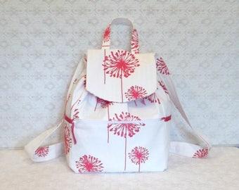 Pink & Ivory Dandelion Canvas Backpack Tote