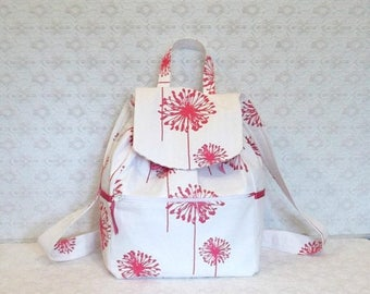 BACK TO SCHOOL Pink & Ivory Dandelion Canvas Backpack Tote