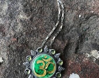Cloisonne enamel Om symbol necklace, cloisonne enamel jewelry