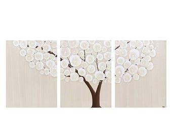 ON SALE Original Canvas Art Tree Painting - Brown Wall Decor Triptych - Medium 35x14