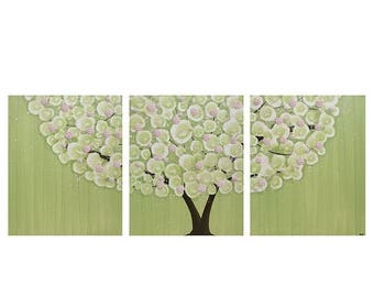 ON SALE Nursery Wall Art Canvas Tree Artwork - Textured Pink and Green Painting Triptych - Large 50x20
