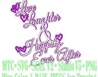 Wedding Words Love Laughter Happily Ever After #02 Cut Files MTC SVG SCAL Format and more traceable
