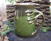 EXTRA LARGE tree mug is  24 oz. for tree lovers ,glazed in rich green and browns